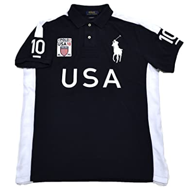 Polo Ralph Lauren Mens Big Pony Country Custom Mesh Polo (USA Navy, Small)  at Amazon Men\u0027s Clothing store: