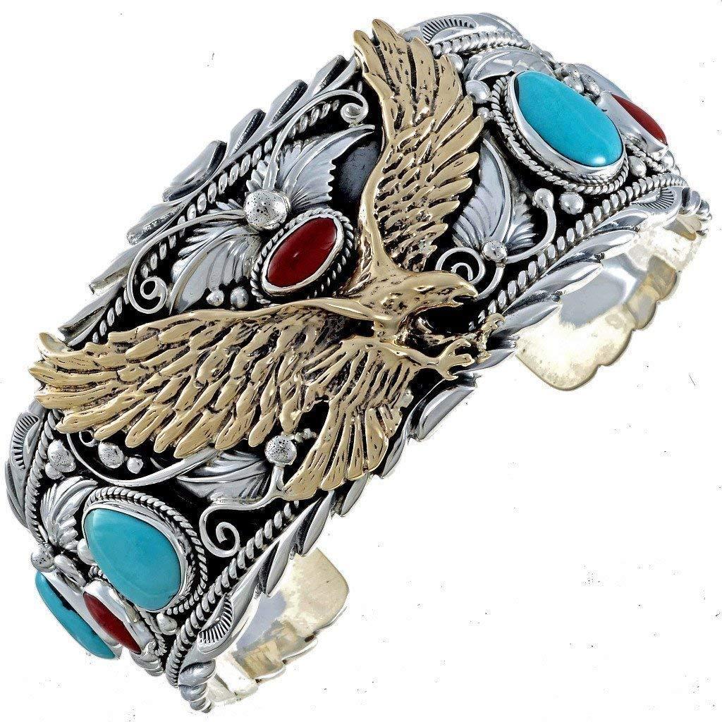 cf5fbb9199b9a Gold Silver Turquoise Mens Cuff Big Boy Eagle Bracelet