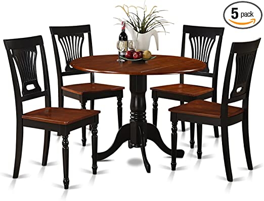 DLPL5-BCH-W 5 Pc small Kitchen Table and Chairs set-Table and 4 dinette  Chairs