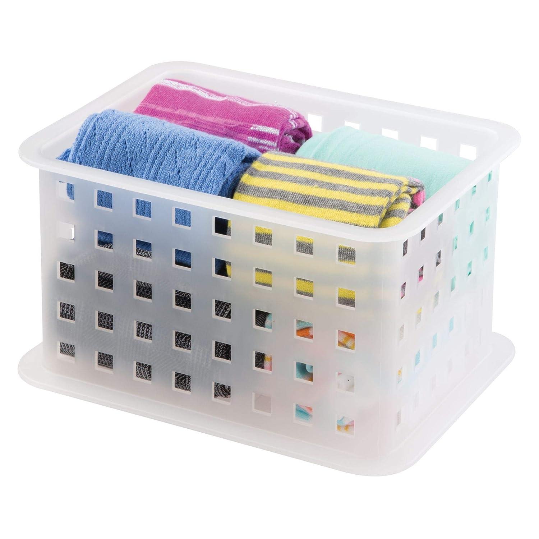 Color: transparente mDesign Juego de tres cajas para organizar armarios peque/ñas ? Cajas transparentes para el armario ? Organizador de pa/ñuelos calcetines bolsos y otros accesorios cinturones