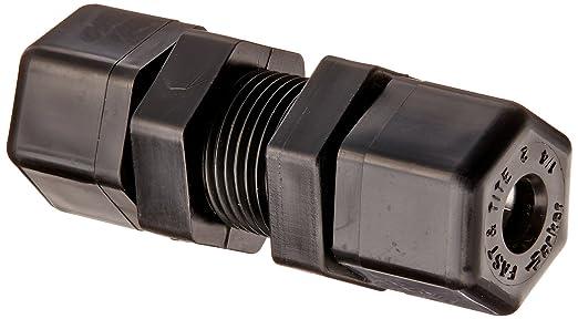 Parker Hannifin P4BU4 Fast & Tite Polypropylene Bulkhead Union Fitting,  1/4