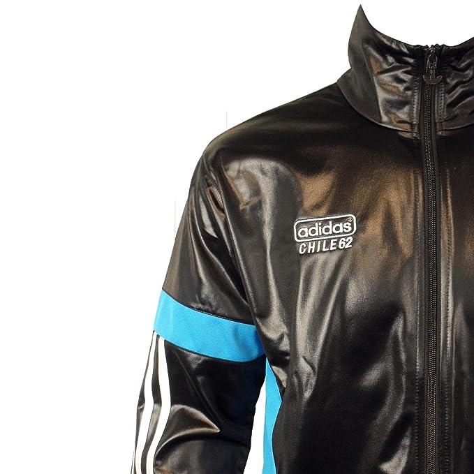 adidas Originals Mens Chile 62 TT Black Track Suit Top Jacket Retro Wet Look TT1