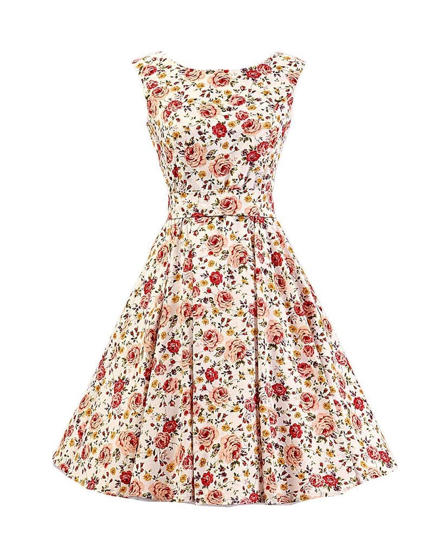 SaiDeng Damen Elegant Blumen Muster Picknick Partei Cocktail Kleid