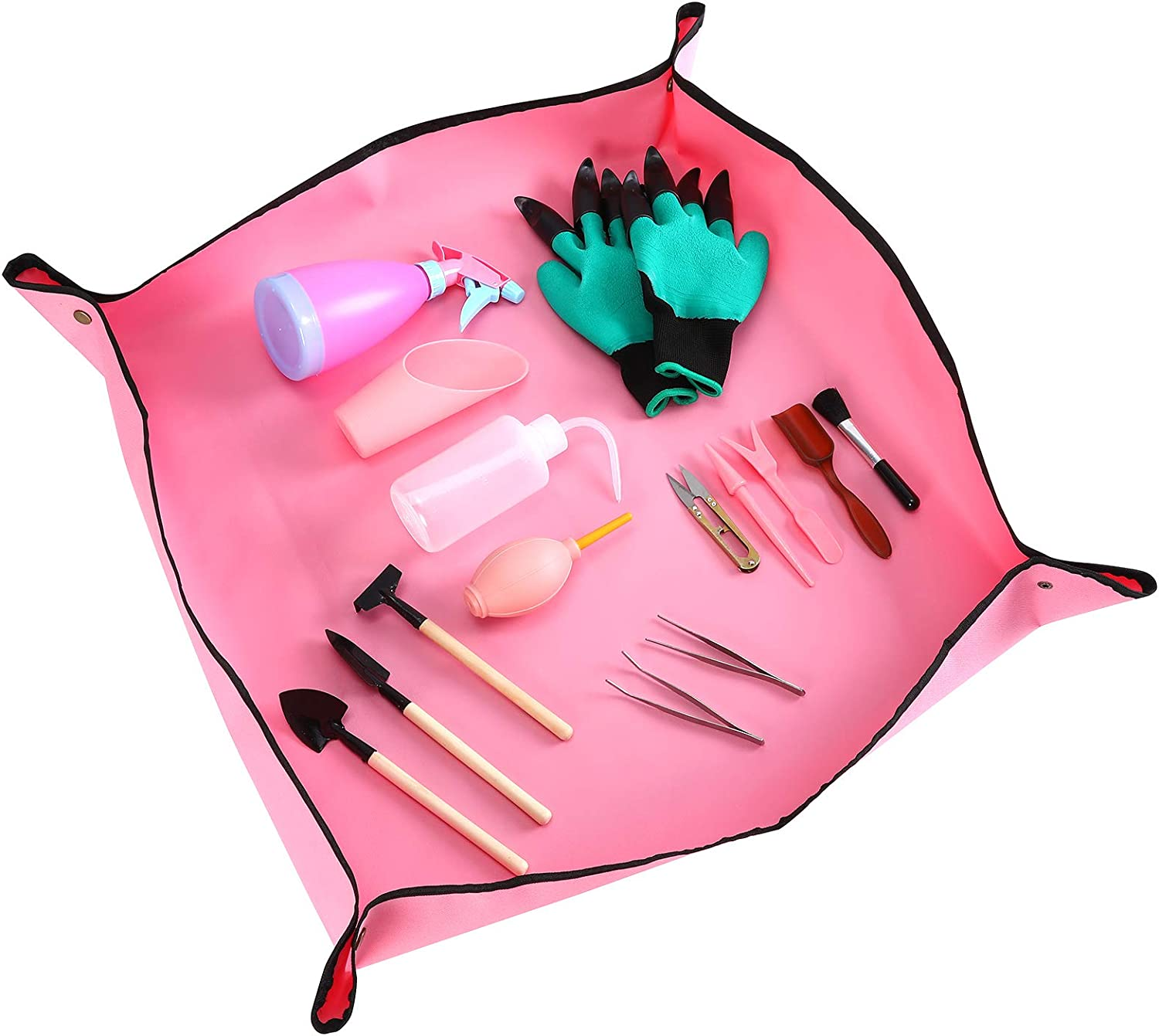 Erikord Garden Succulent Tools Set - 16 Pieces Hand Tool Mini Kit Gloves Digging with Claws Plant Repotting Transplanting Mat for Miniature Fairy Garden Plant Care (Pink)