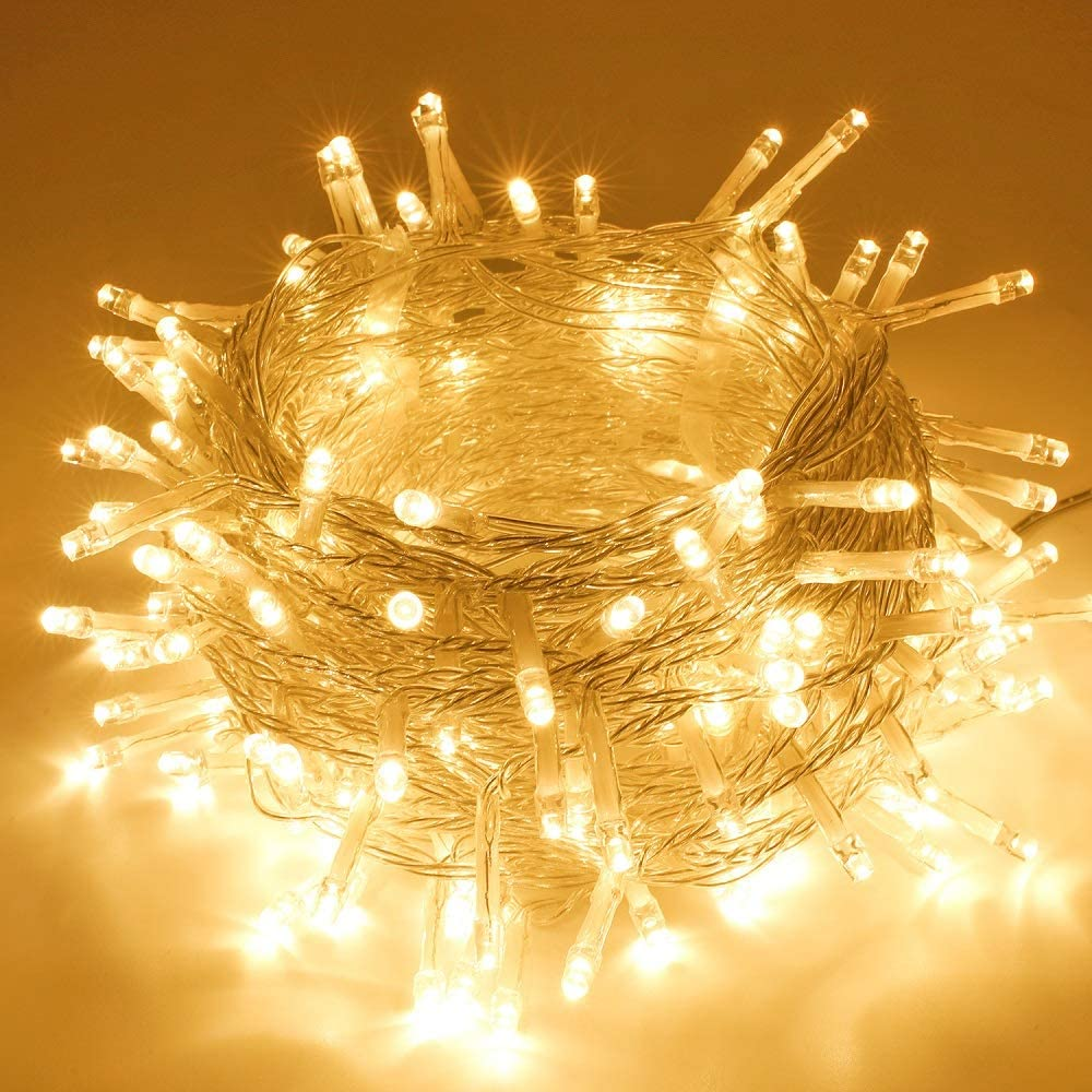 SANJICHA String Lights Indoor/Outdoor, Waterproof Christmas Lights 66FT 200 LED Warm White, Safety Plug in String Lights 8 Modes Fairy Lights for Patio Wedding Garden Party Bedroom