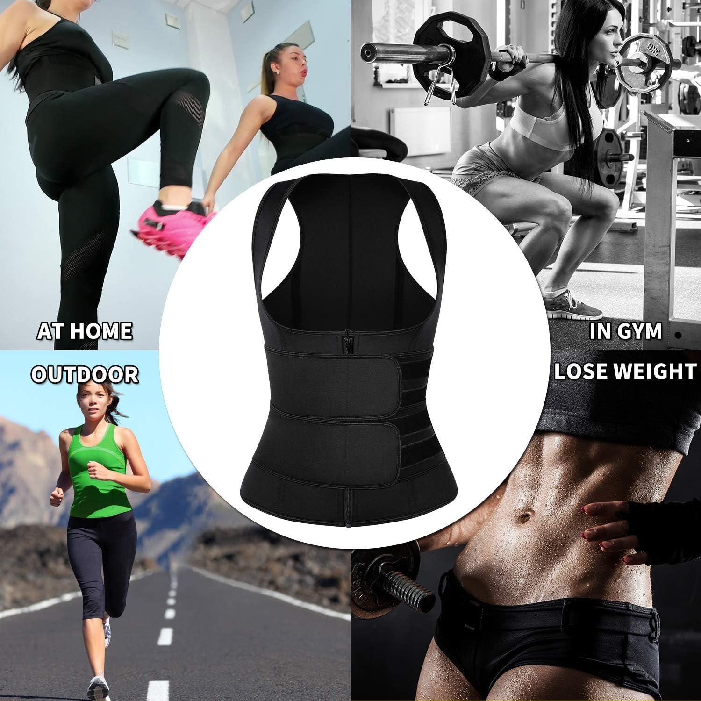 Women Workout Compression Waist Trainer Sauna Suit Sweat Vest Weight Loss Neoprene Snug Fit Tank Top KIWI RATA Sauna Waist Trimmer Vest with Adjustable Double Straps