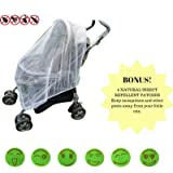Baby Mosquito Net Infant Insect Net for Prams and Pushchairs Baby Buggies Car Seats Moses Basket Prams and Travel Cots by Mosquito Nets 4 U® BONUS! 6 Smiley Insect Repellent Patches