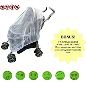Baby Mosquito Net Infant Insect Net for Prams and Pushchairs Baby Buggies Car Seats Moses Basket Prams and Travel Cots by Mosquito Nets 4 U¨ BONUS! 6 Smiley Insect Repellent Patches