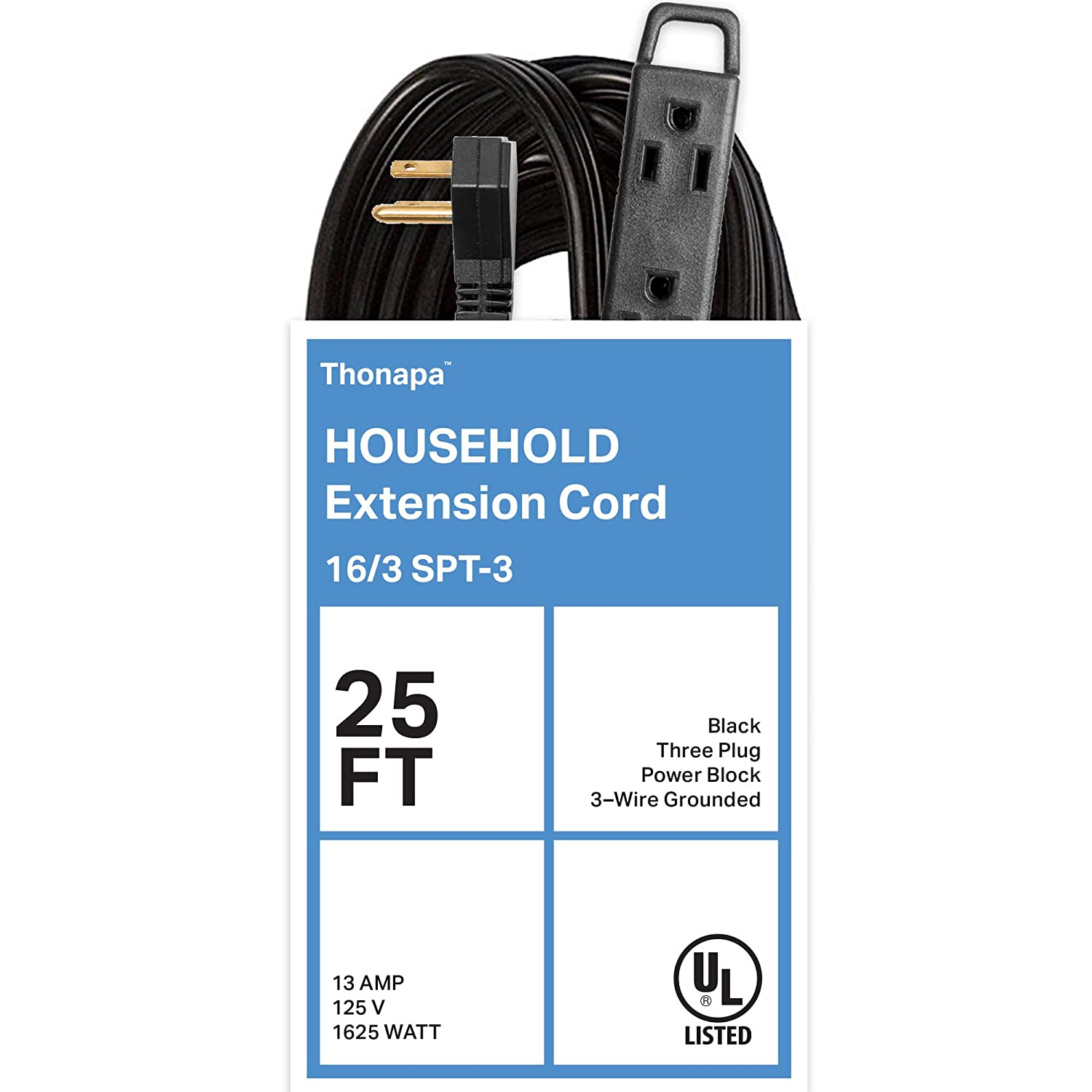 Amazon.com: Thonapa 25 Ft Extension Cord with 3 Electrical Power ...