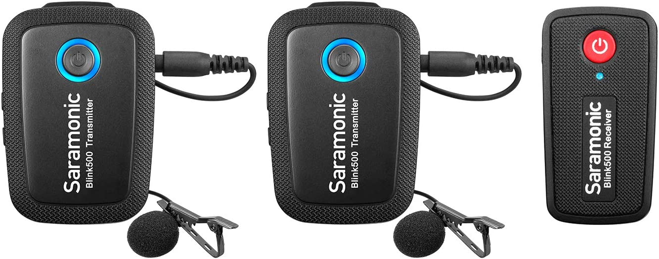 Saramonic Blink 500 Ultracompact 2.4GHz Dual-Channel Wireless Microphone System Tx+Tx+Rx for DSLR Mirrorless Video Canon Nikon Camera