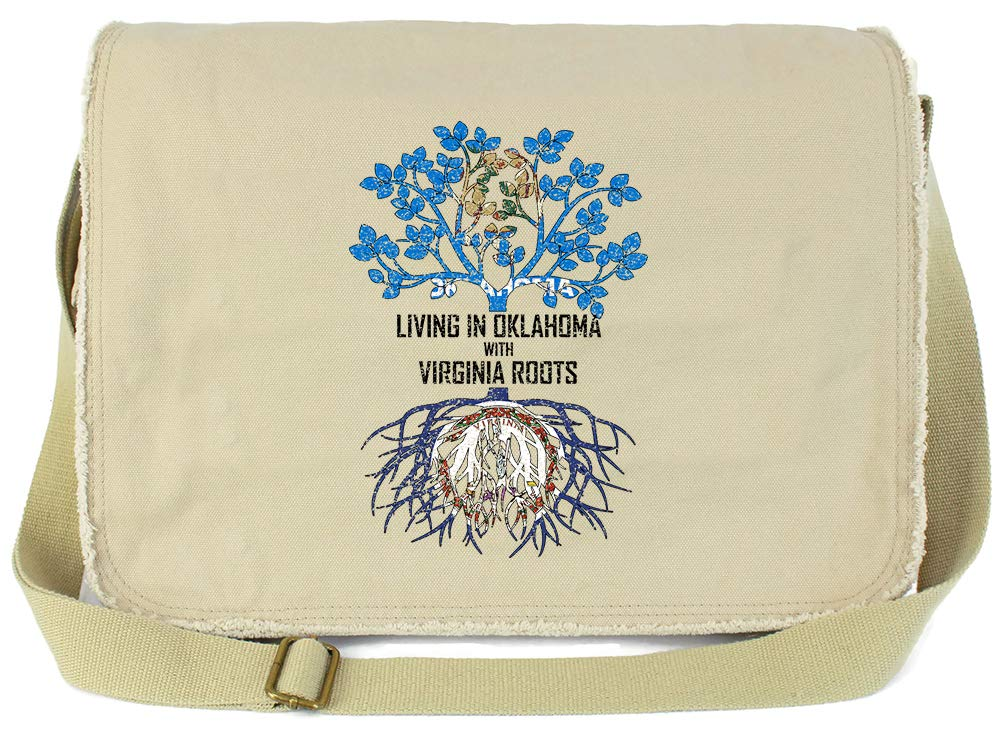 Tenacitee Living In Oklahoma with Virginia Roots Grey Brushed Canvas Messenger Bag