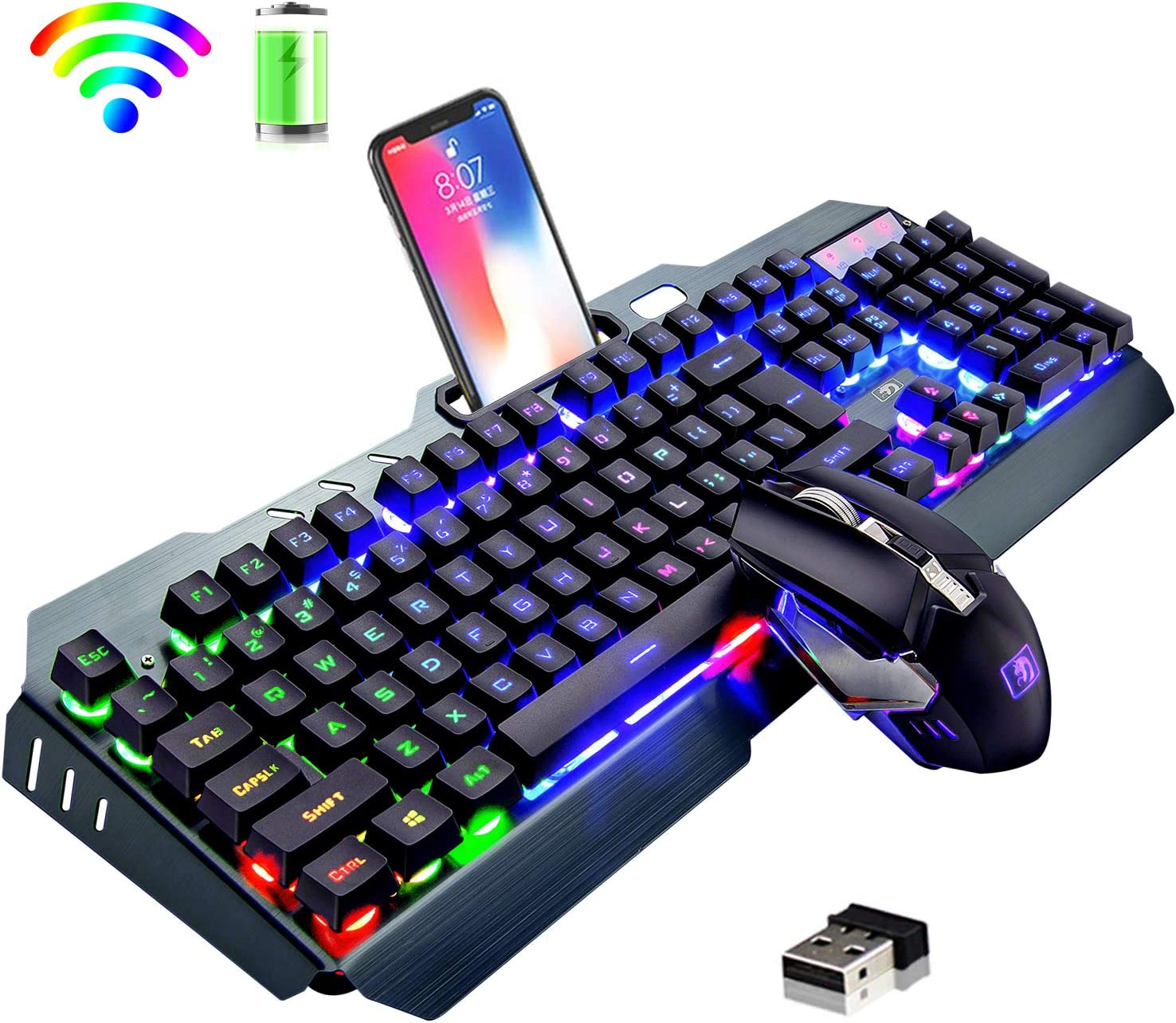 Top Sellers in Computer Keyboard & Mouse Combos - Wireless Keyboard and Mouse,Rainbow LED Backlit Rechargeable Keyboard Mouse with 3800mAh Battery Metal Panel,Mechanical Feel Keyboard and 7 Color Gaming.