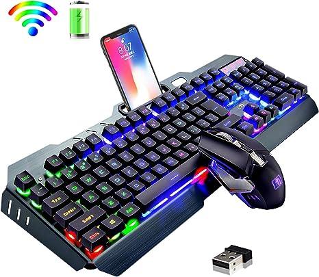 Juego de teclado y mouse recargables inalámbricos para juegos 2.4G ...