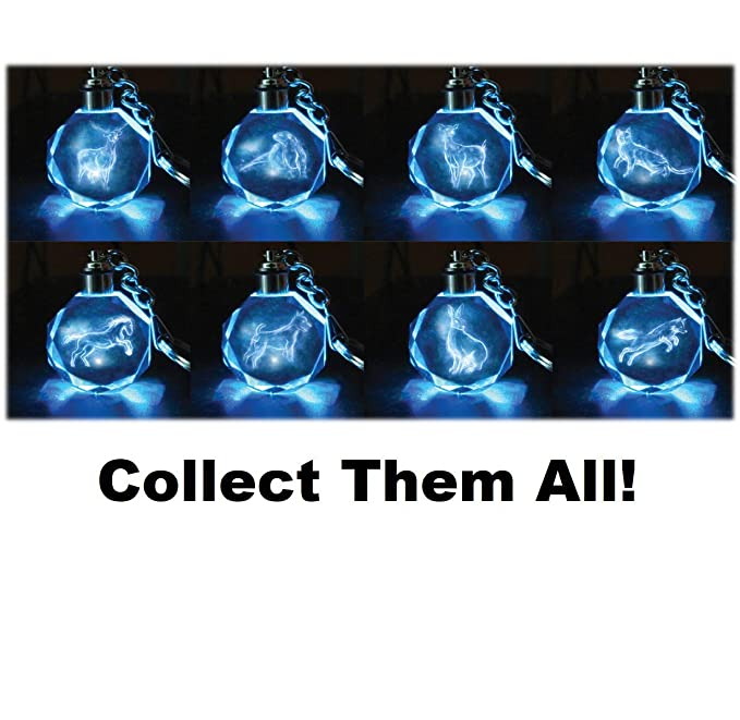 Harry Potter Patronus Collectible Key Chain Mystery Blind Bag, 3 Pack - Receive 3 of 8 Mystery Crystal Patronus Key Rings with LED Blue Light - ...