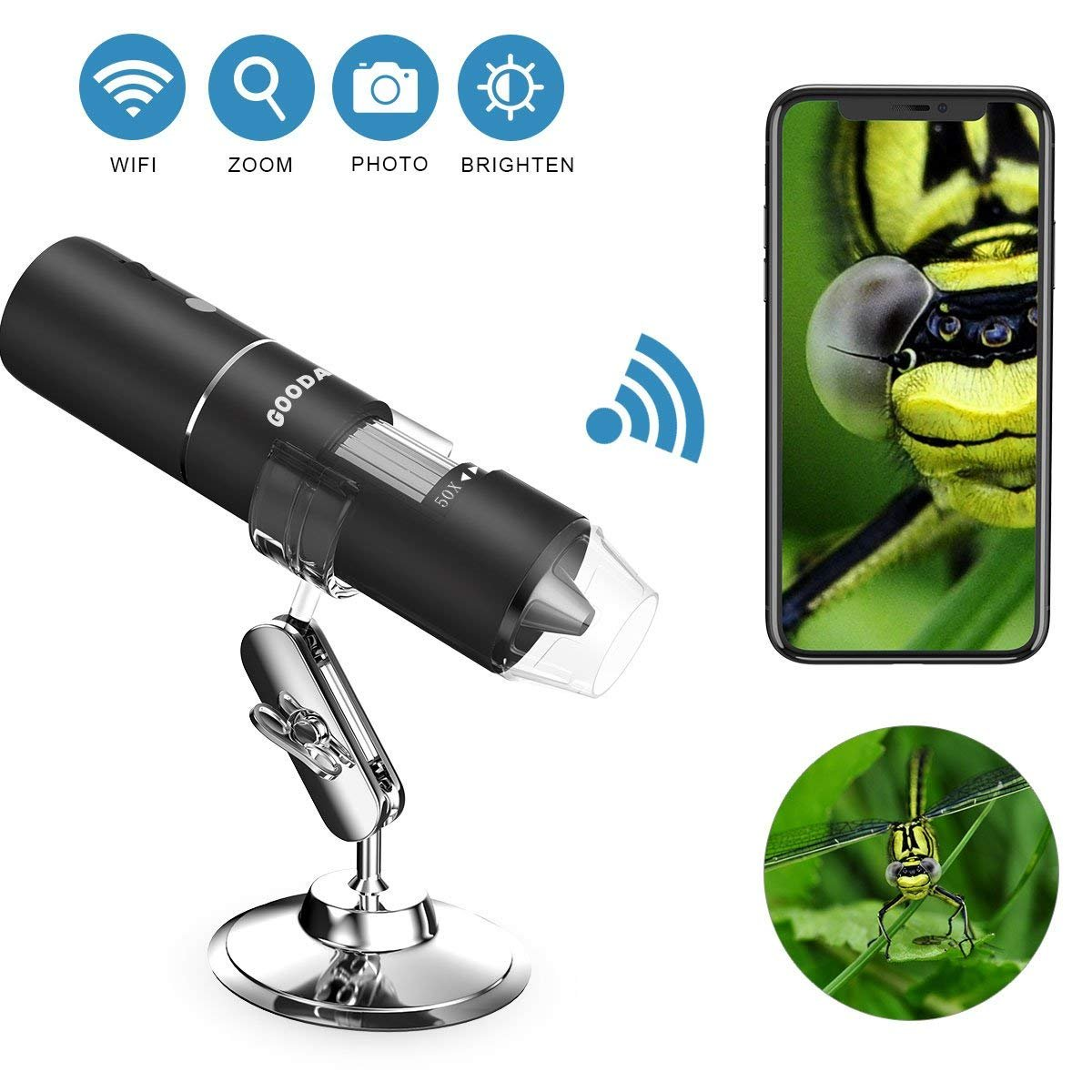 Wifi Digital Microscope, Goodan Wireless Microscope, Portable 50 to 1000X Black Updated Magnification Endoscope with Mini 8 Led Inspection Camera for Iphone IOS and Android Smartphone, Ipad by goodan