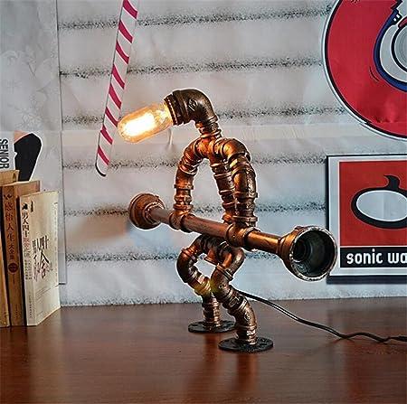Lámparas de escritorio Robot elevador de peso Industrial de la cosecha Hierro forjado Tubos de agua Lámpara de mesa Dormitorio sala de estar Deslizables a ...