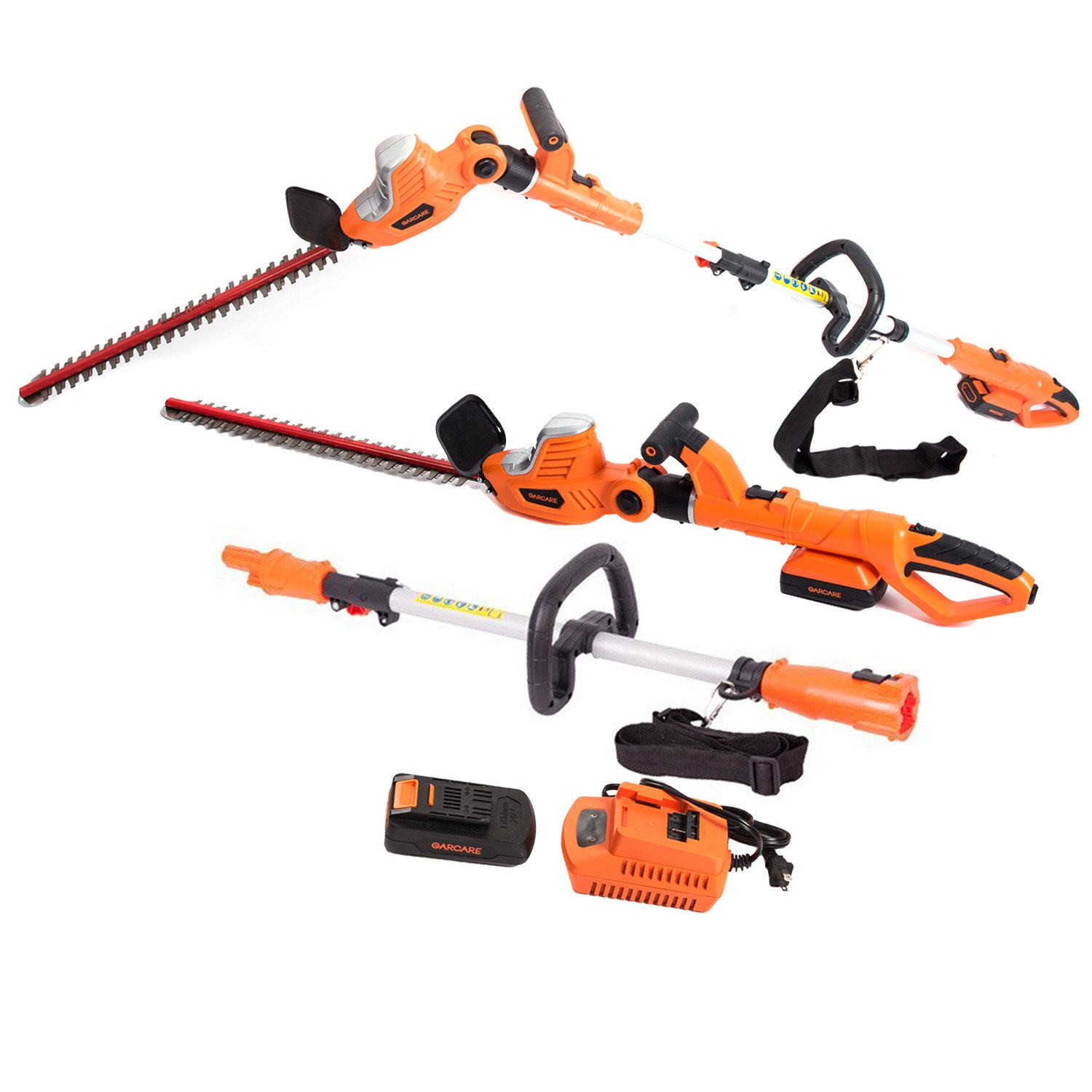 GARCARE 20V Li-ion Cordless 2 in 1 Pole and Portable Hedge Trimmer with 20-Inch Laser Blade