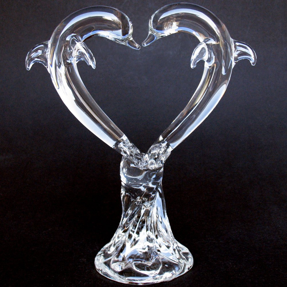 Hand Blown Glass Dolphin Heart Wedding Cake Topper Crystal by Prochaska Gallery