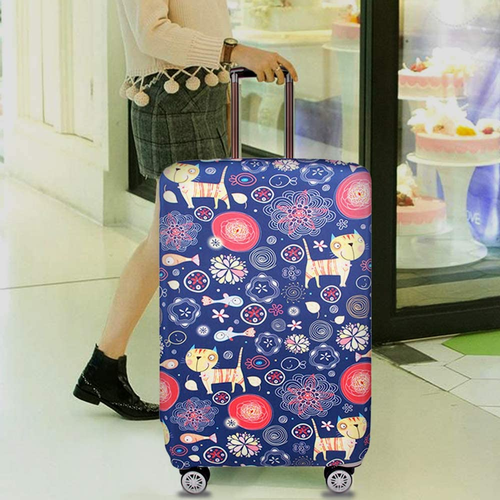 Removable Dustproof and Elastic Luggage Protector with Unique and Outstanding Colorful Print for Easy Identification XL, Cats Travel Suitcase Protective Cover