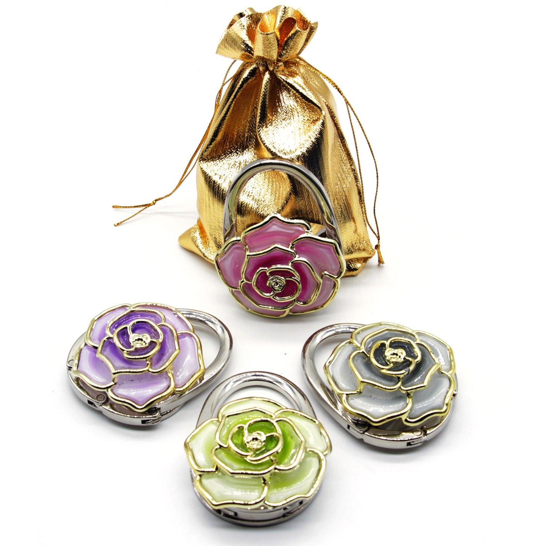 BEAVO Set of 4 Handbag Hook Rose Flower Foldable Purse Handbag Hook Table Hanger