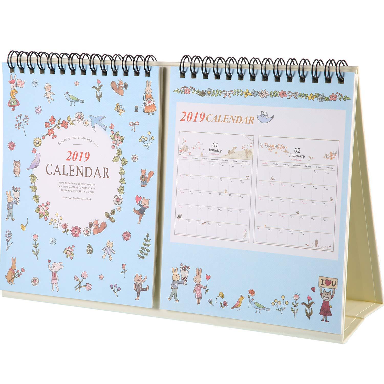 Nuovo 2018 - Dicembre 2019 Calendario da Tavolo con Supporto, Mensile Accademico Anno Civile Agenda Giornaliera del Calendario Anno, Filo Doppio, 26 x 17,5 cm (Rosa) Boao