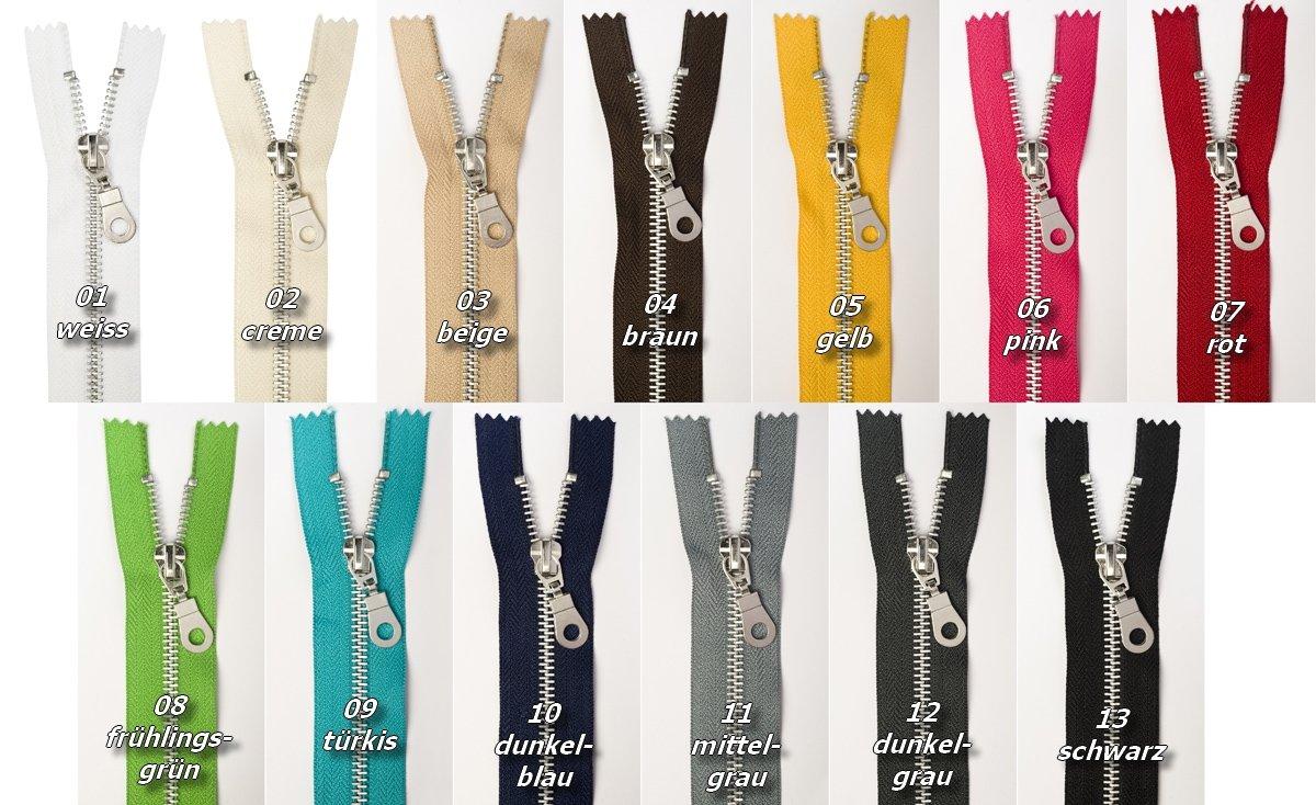 Jajasio Reißverschlüsse Metall, Aluminum, 3 Stück, Reissverschluss Metall NICHT teilbar, 12 cm, in 13 Farben / Farbe: 01 - weiss 3 Stück