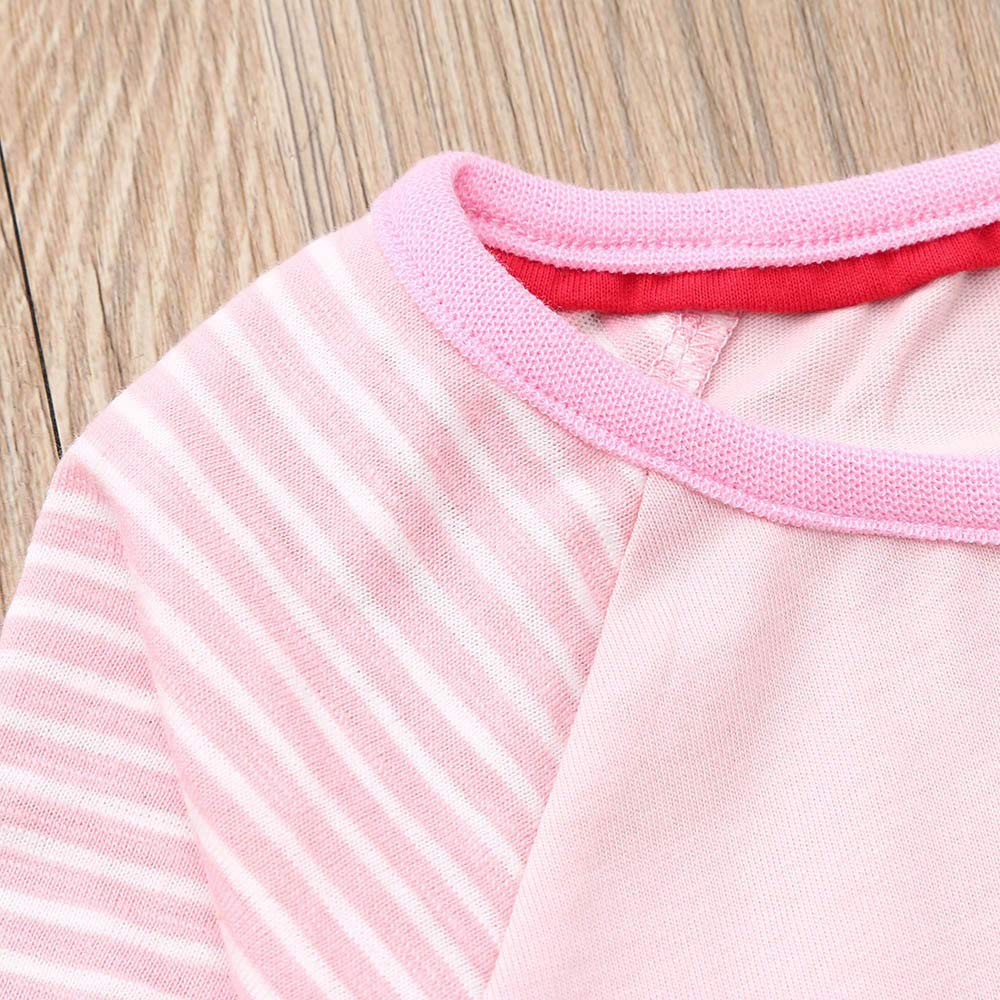 Muium Toddler Baby Cartoon Bird Dress Kids Girls Long Sleeved Stripe Skirts Clothes Outfits for 1-7 Years Old
