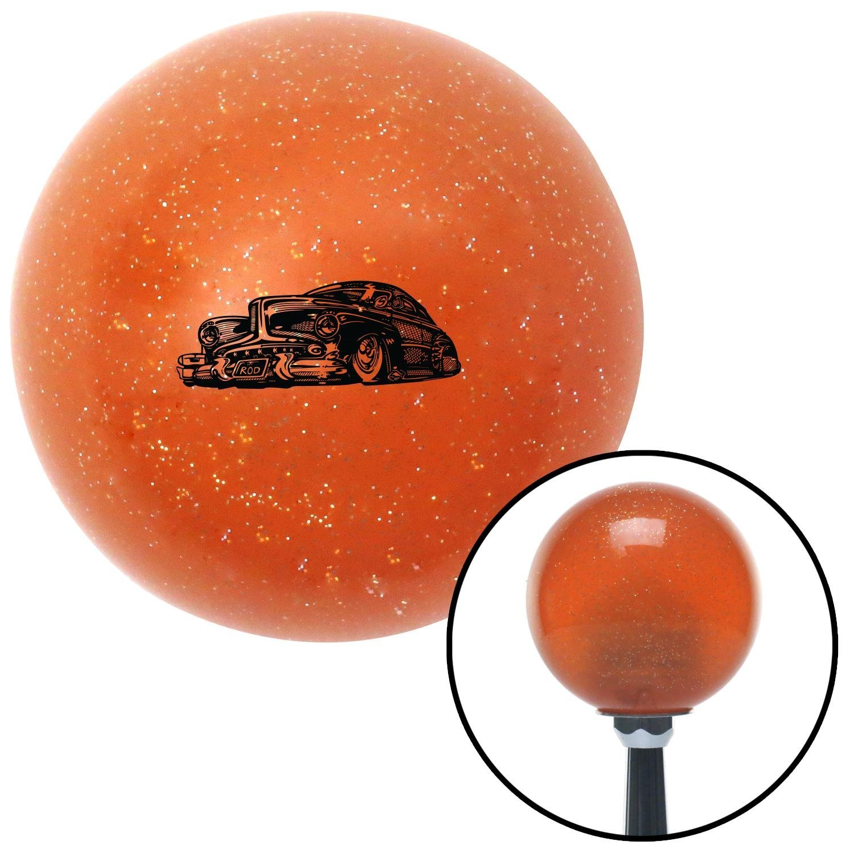 American Shifter 46195 Orange Metal Flake Shift Knob with 16mm x 1.5 Insert Black Hot Rod Sled