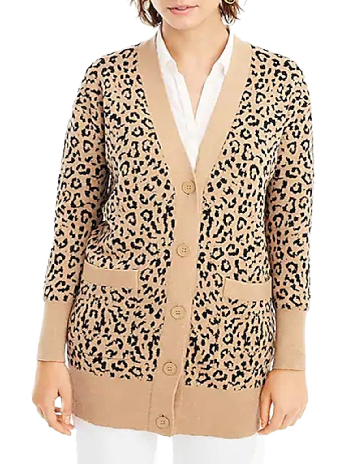 BMJL Women's Leopard Print Cardigan Long Sleeved Sweater Longline with Button Pockets