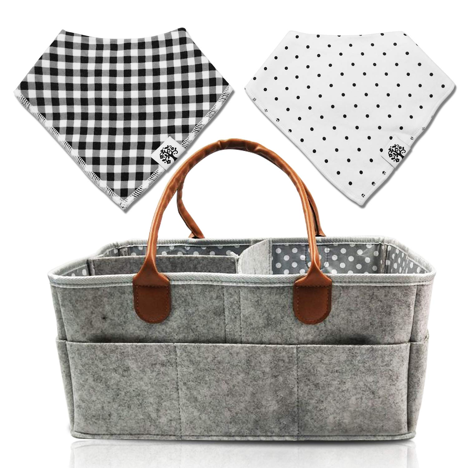 Baby Diaper Caddy | Nursery Diaper Tote Bag | Baby Shower Gift Basket | Large Portable Car Travel Organizer | Boy Girl Diaper Storage Big for Changing Table | Newborn Registry Must Haves by Sweet & Smitten