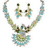 EVER FAITH Women's Austrian Crystal Peacock Feather Animal Necklace Earrings Set Gold-Tone