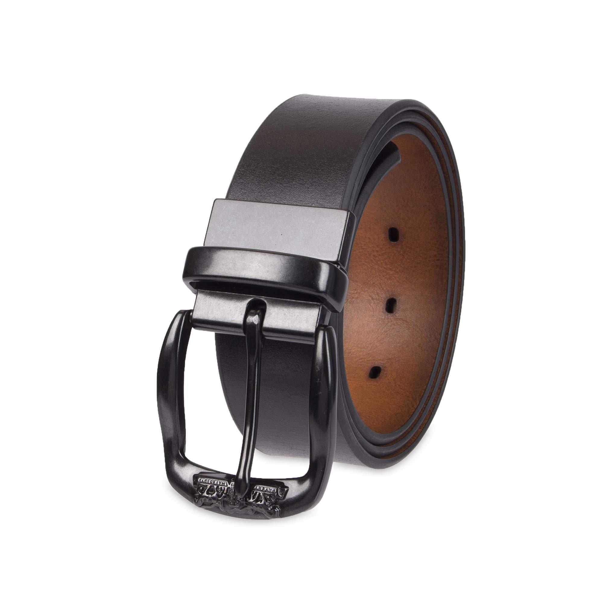 Levi's Men's Leather Reversible Belt with Logo on Buckle-Black/Tan, Medium