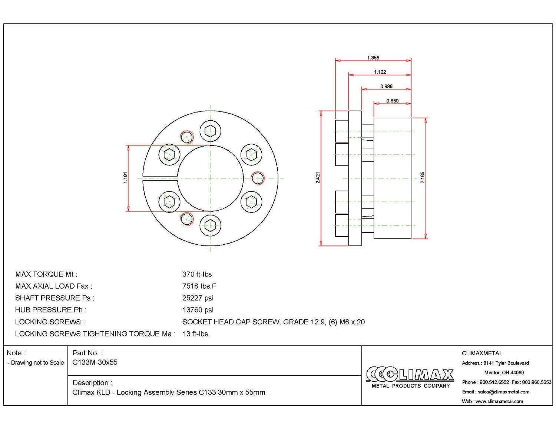Climax Metals C133M-30X55 Series 133 Locking Assembly Steel 1.18 ID 1.34 Width 30 mm Shaft Diameter 1.18 ID 1.34 Width MAV s.P.a
