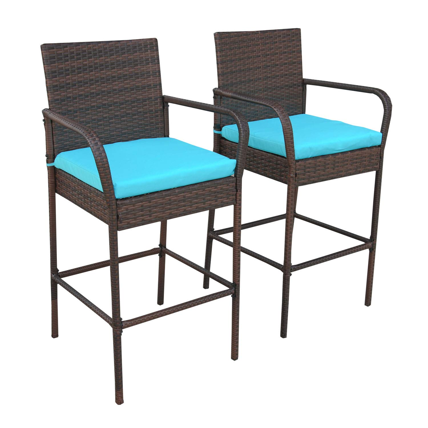 VALITA Patio PE Rattan Cushioned Barstool – Outdoor Wicker High Chair, Royal Blue Cushions, Set of 2
