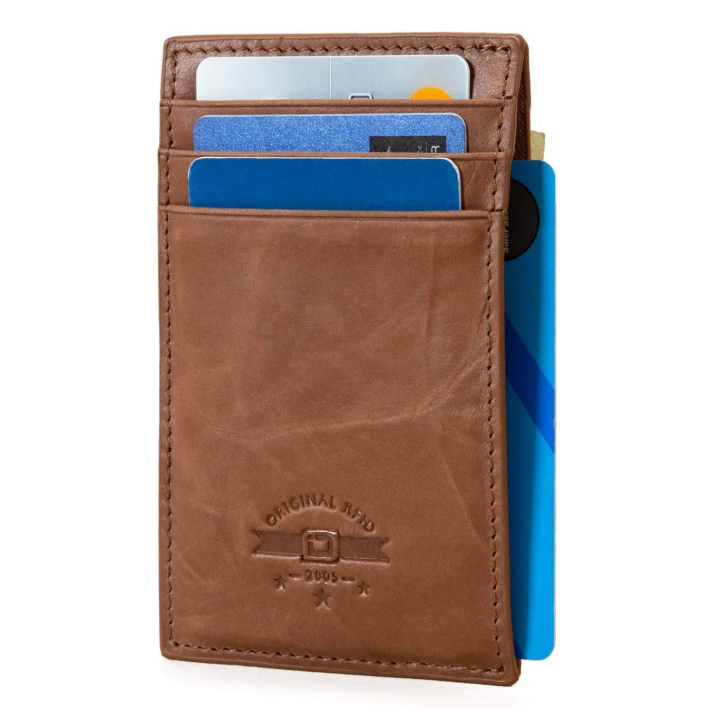 RFID Wallet Money Clip Bottle Opener Best RFID Blocking Wallet Best Quality Leather Natural Brown