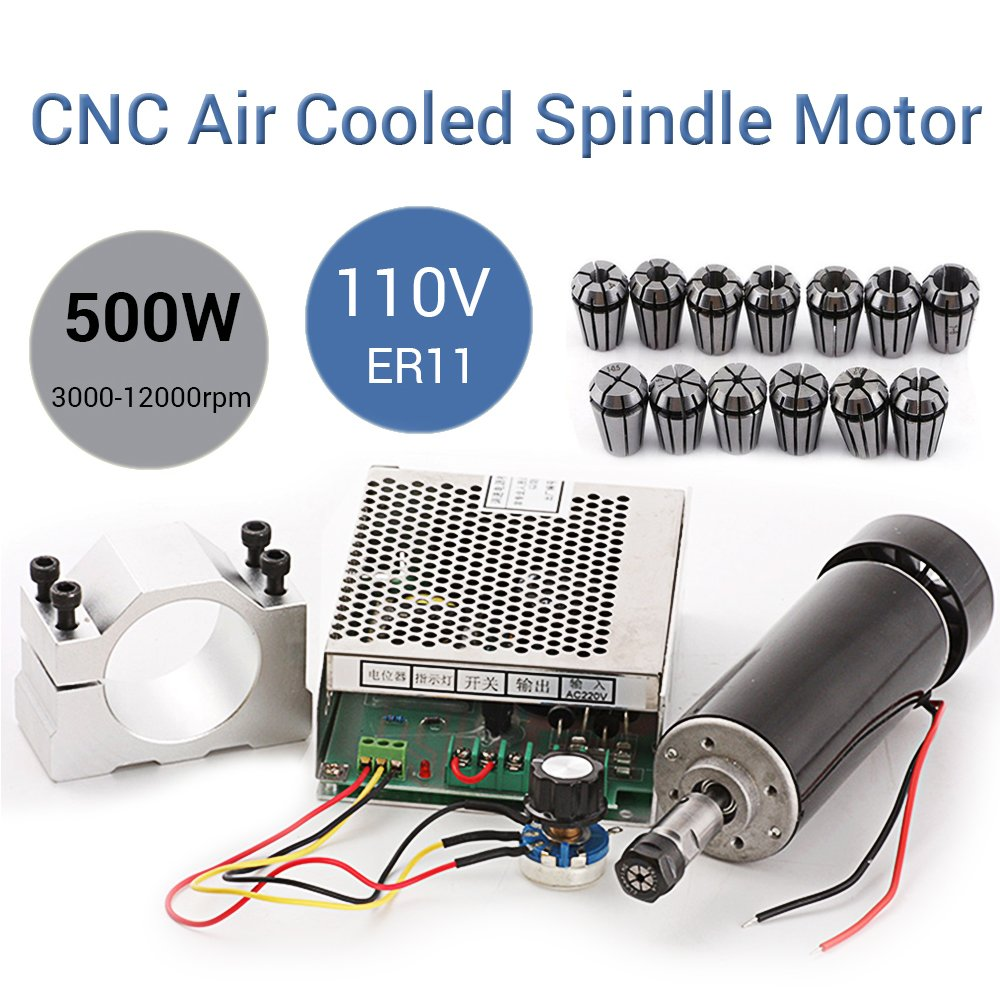 CNC 500W Spindle Motor 0.5kw Air Cooled Milling Spindle Motor 110V MACH3 Speed Power Converter with 52mm Clamp and 13pcs ER11 Collet for DIY Engraving Engraver Machine by TopDirect