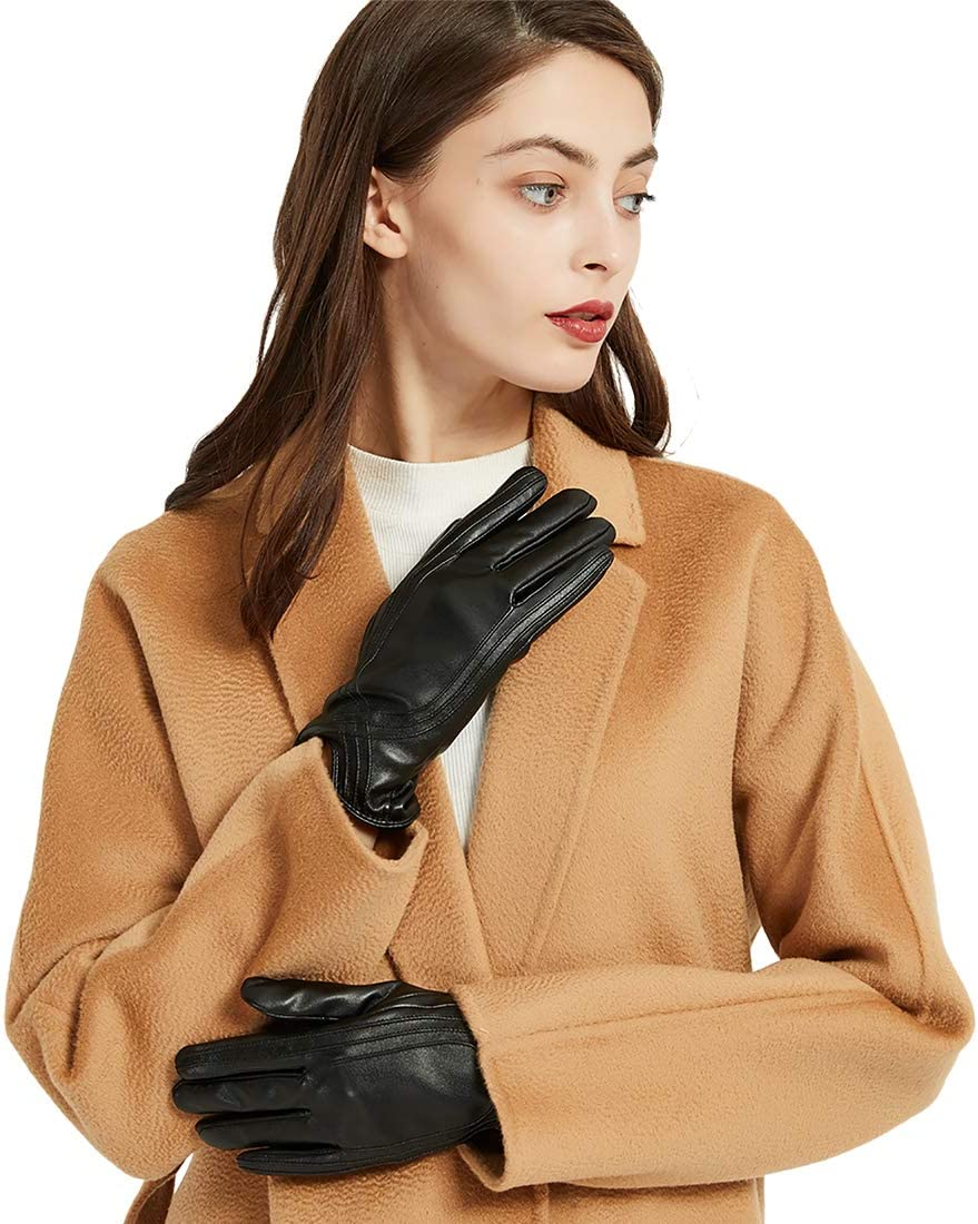 Large, Brown Touchscreen Winter Touchscreen Texting Warm Fleece Lined Driving Handmade Gloves by Nappaglo Leather Gloves for Women