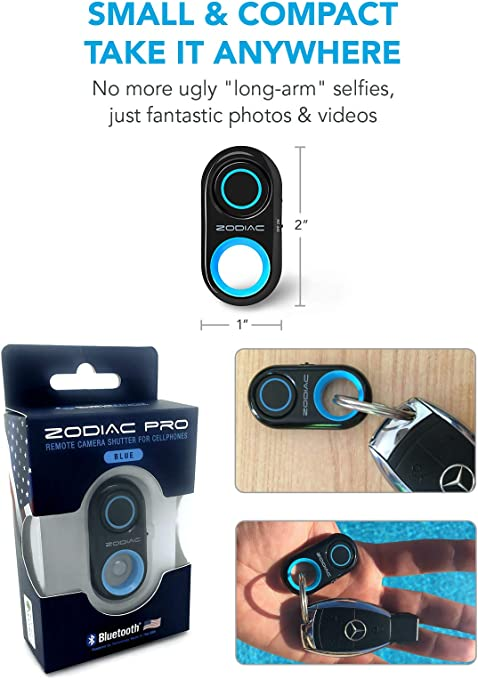 Bluetooth Remote Shutter Wireless Camera Control Self timer photos Battery Included CR2032 application for Any Smartphone,Compatible Andriod IPhone 11 pro//X//Xs//XR//8//8 Plus,7,6,iPad,Galaxy S10