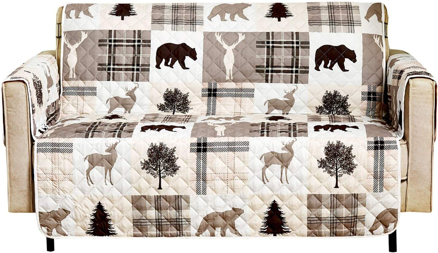 """Wake In Cloud - Sofa Cover 100% Waterproof Non-Slip, Pets Dog Cat Kids Furniture Protector 2 Cushion Couch Slip Cover, Elastic Strap, Rustic Wildlife Bear Moose Patchwork (54"""" Loveseat)"""