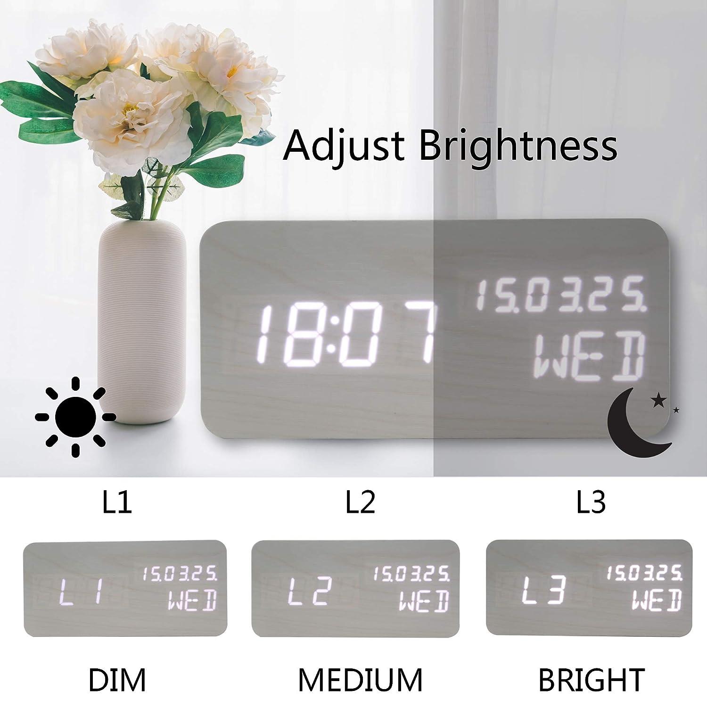 Amazon.com: OFLILAK - Reloj despertador digital de madera, 3 ...