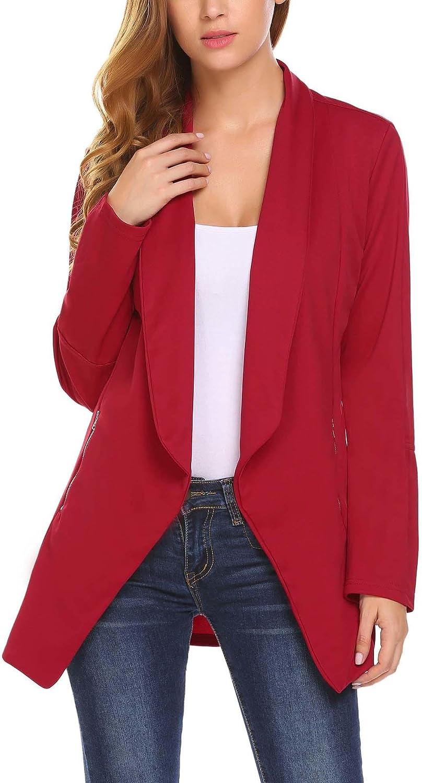 TALLA S. Meaneor Mujeres Blazer Elegante Oficina Traje de Chaqueta Outwear Casual