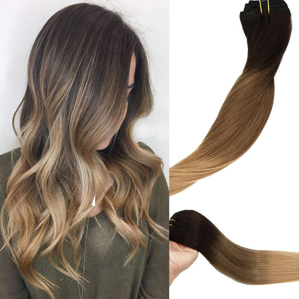 Clip In Human Hair Extensions Double Weft Brazilian Hair 120g 7pcs Dark Brown Fading to Chestnut Brown and Ash Brown Highlighted Full Head Silky Straight 100% Human Hair Clip In Extensions 14 Inch