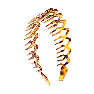 Women Men Plastic Sharks Tooth Headband Toothed Hairband Hair Comb Zigzag Hair Band Hair Hoop Hair Accessory (Brown)