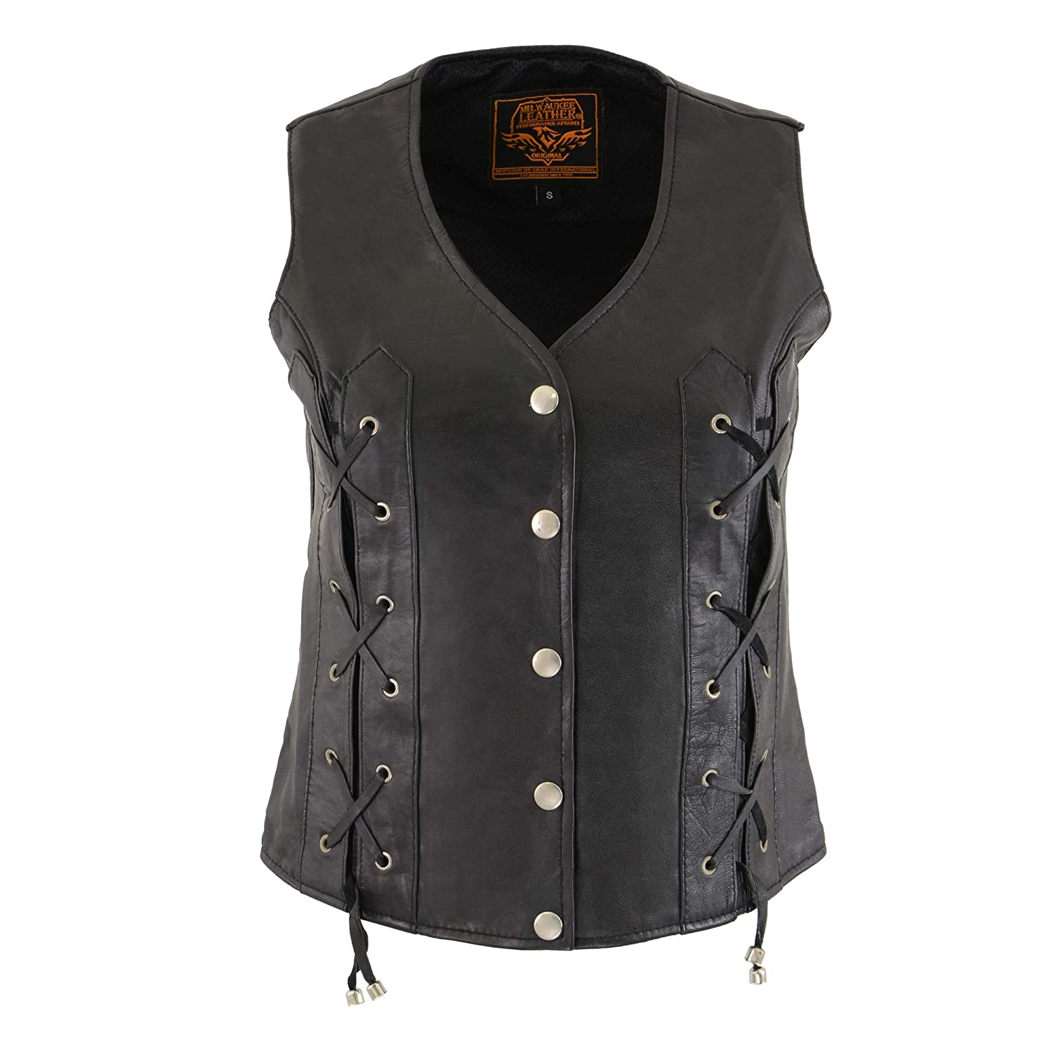 LEATHER KING Womens Snap and Lace Front Vest Black, 5X-Large