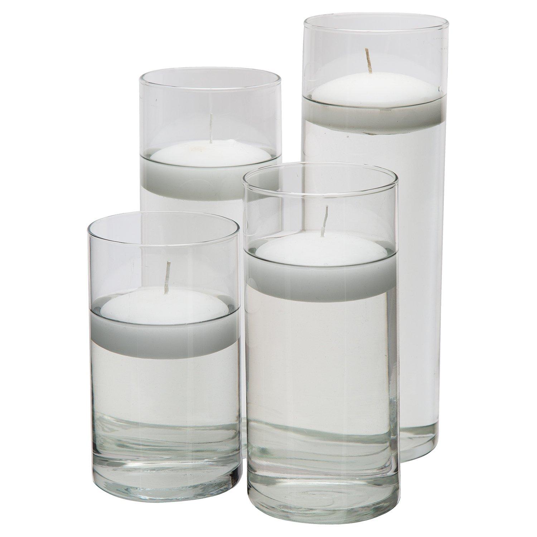 Glass Cylinder Vases - SET OF 3 - Including 3 FLOATING DISC CANDLES ...