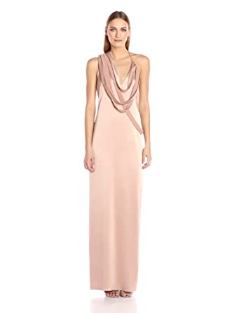 d9f9ed07a855 Halston Heritage Women's Sleeveless Slip Gown with Draped Strip Detail,  Almond 0