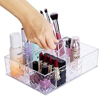 HBF Caja De Cosméticos Portátil De Acrílico Trasparente Organizador Para Maquillaje Brochas Lápiz Labial Esmalte De Uñas: Amazon.es: Belleza
