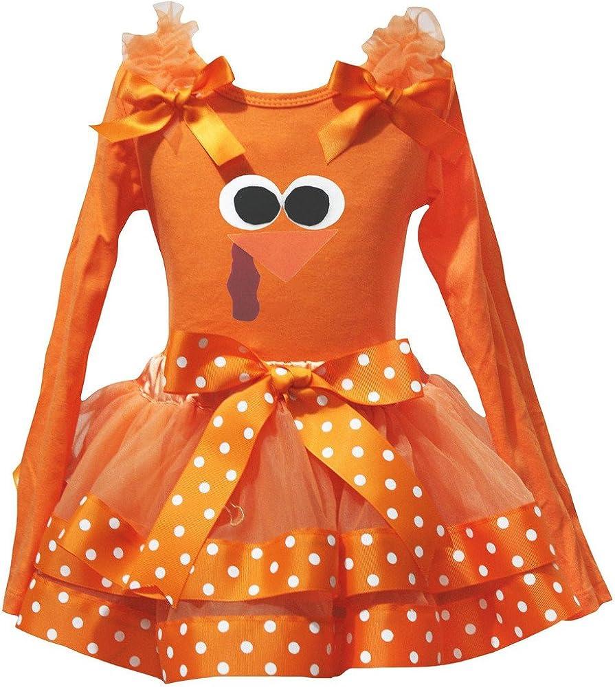 Petitebella Turkey Face Orange L//S Shirt Orange White Dots Petal Skirt Nb-8y