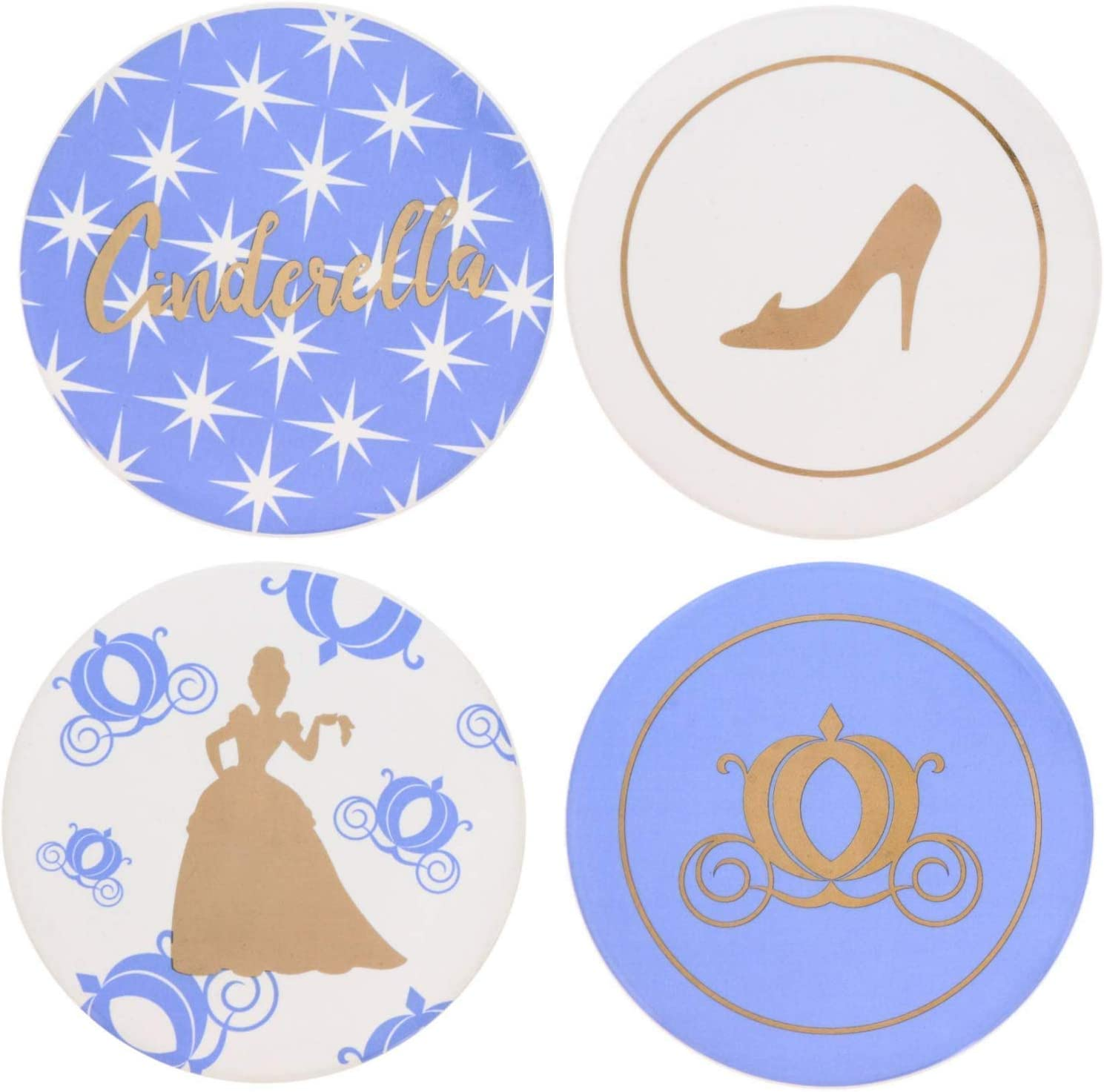 Cinderella Themed Coaster Set with 4 Unique Designs - Ceramic Coasters that Make Beautiful Home Accessories to Protect Tables from Drink Marks, Water Rings, and Scratches, 4 Piece Heavy Coasters