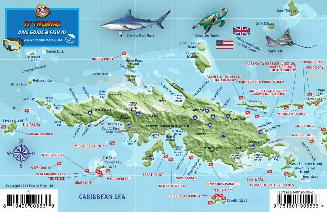 St. Thomas USVI Dive Map Fish ID Virgin Islands Franko Maps ...